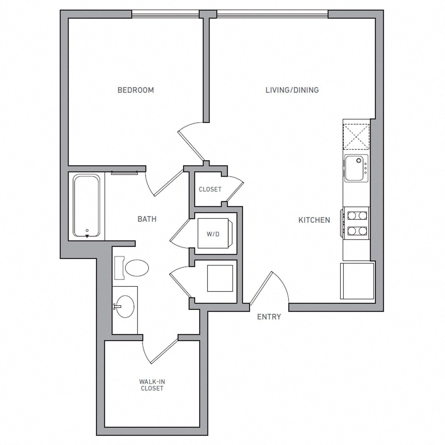 A One floor plan diagram. One bedroom, one bathroom, an open kitchen and living area, and a washer dryer.