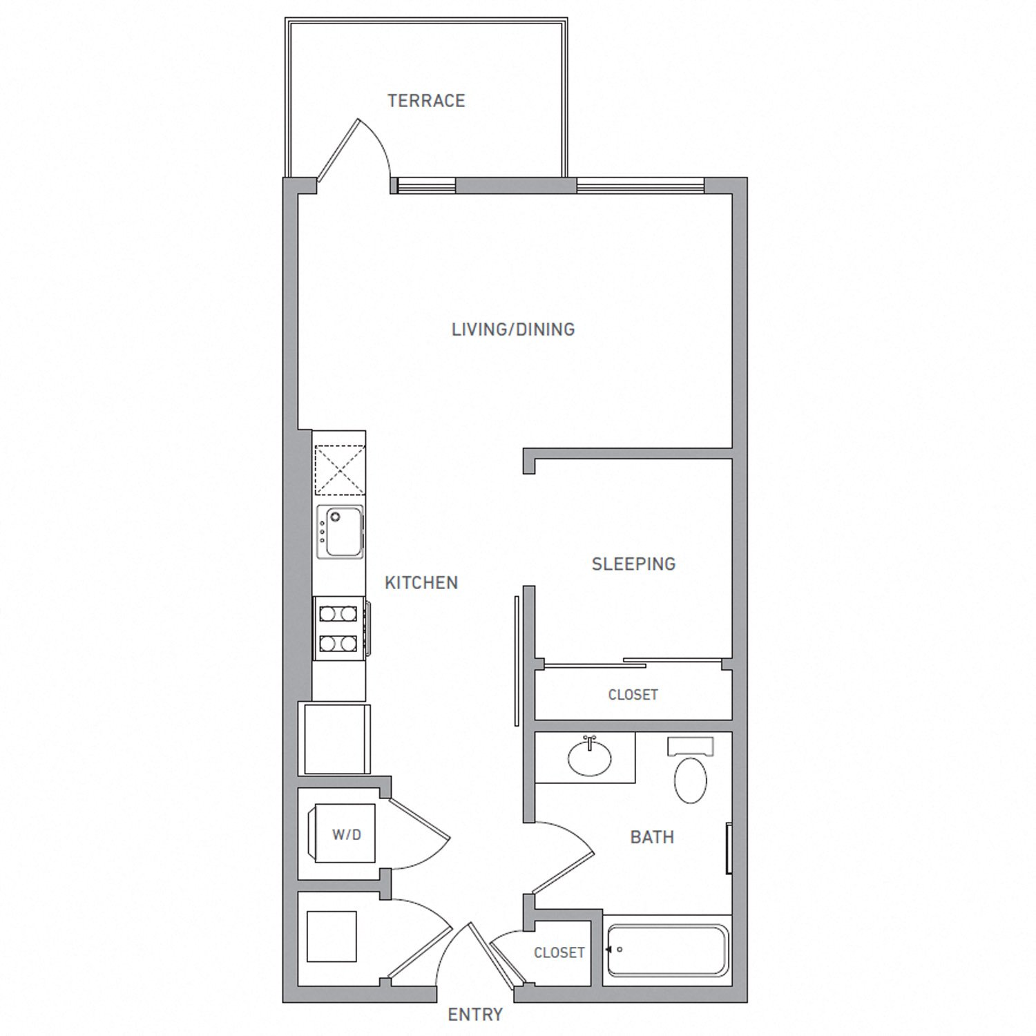 A One U A floor plan diagram. One bedroom, one bathroom, an open kitchen and living area, a terrace, and a washer dryer.