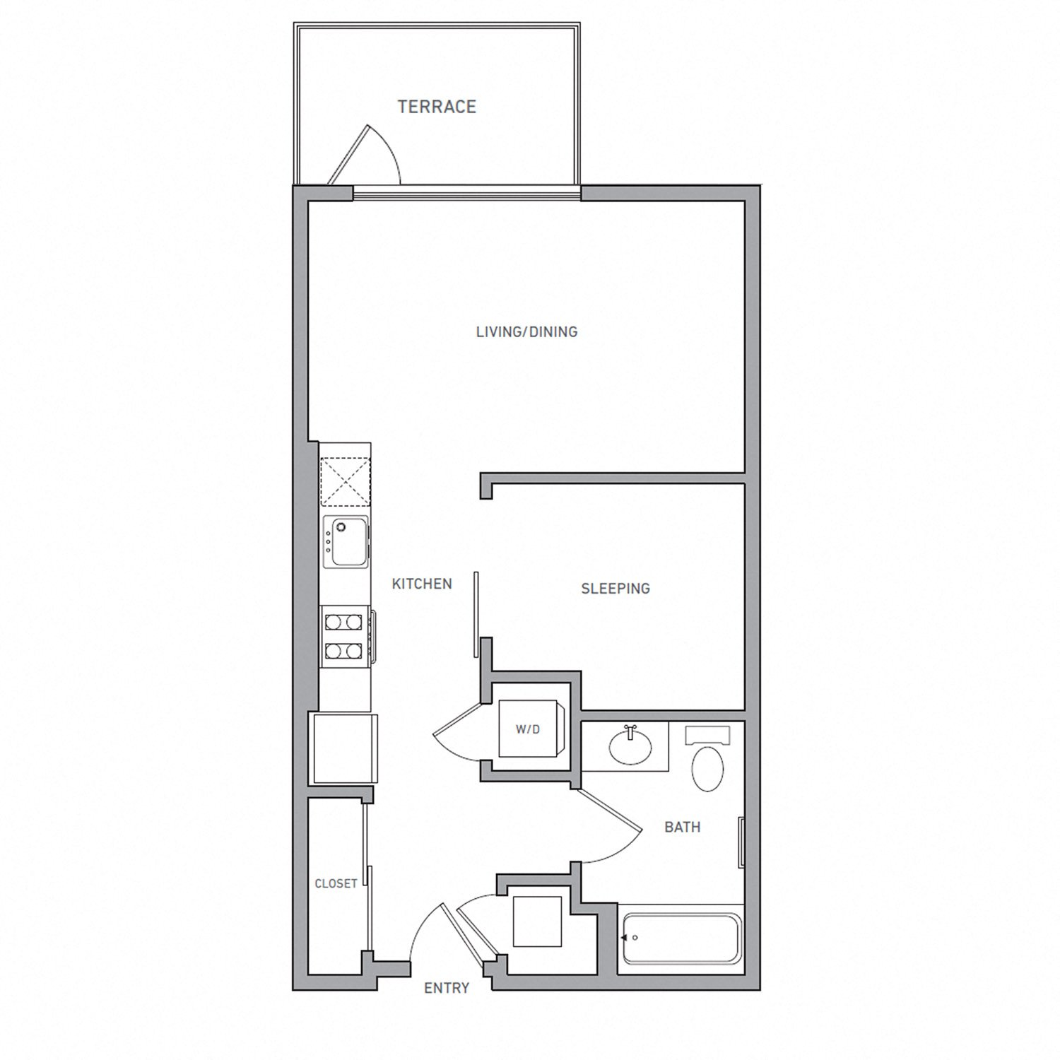 A One U B floor plan diagram. One bedroom, one bathroom, an open kitchen and living area, a terrace, and a washer dryer.