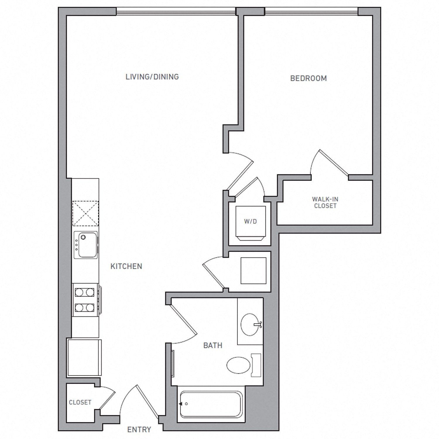 A Two floor plan diagram. One bedroom, one bathroom, an open kitchen and living area, and a washer dryer.
