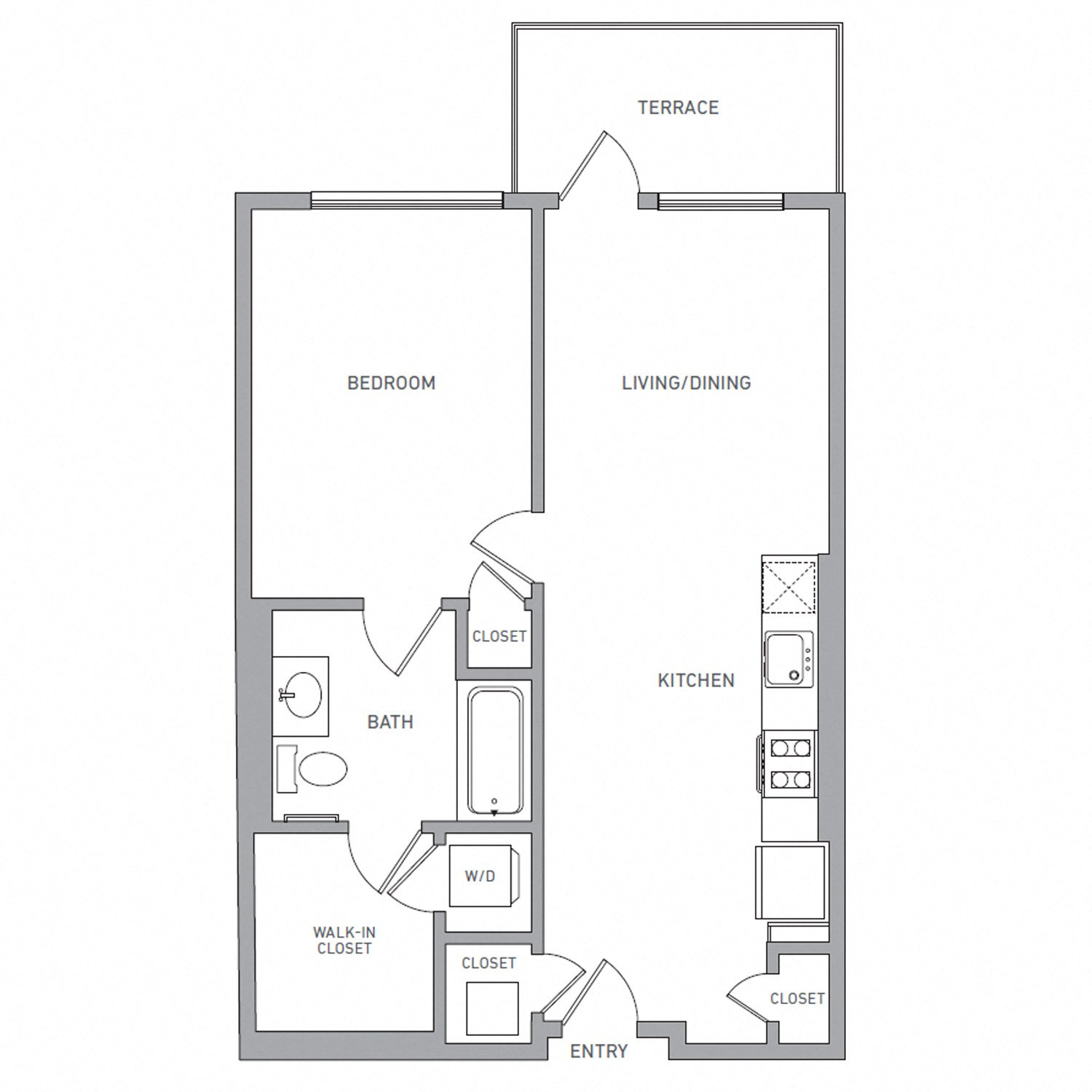 A Four floor plan diagram. One bedroom, one bathroom, an open kitchen and living area, a terrace, and a washer dryer.