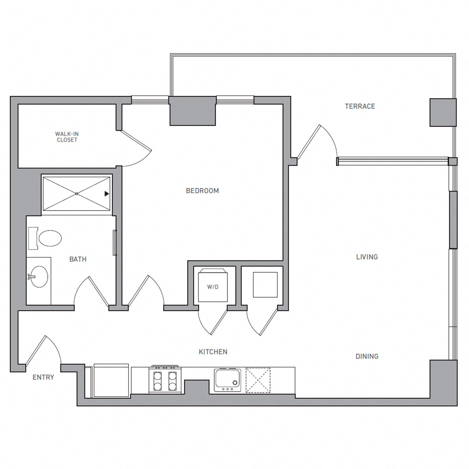 A Five floor plan diagram. One bedroom, one bathroom, an open kitchen and living area, a terrace, and a washer dryer.