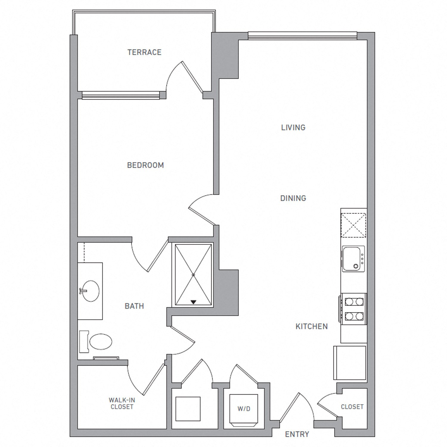 A Six C floor plan diagram. One bedroom, one bathroom, an open kitchen and living area, a terrace, and a washer dryer.