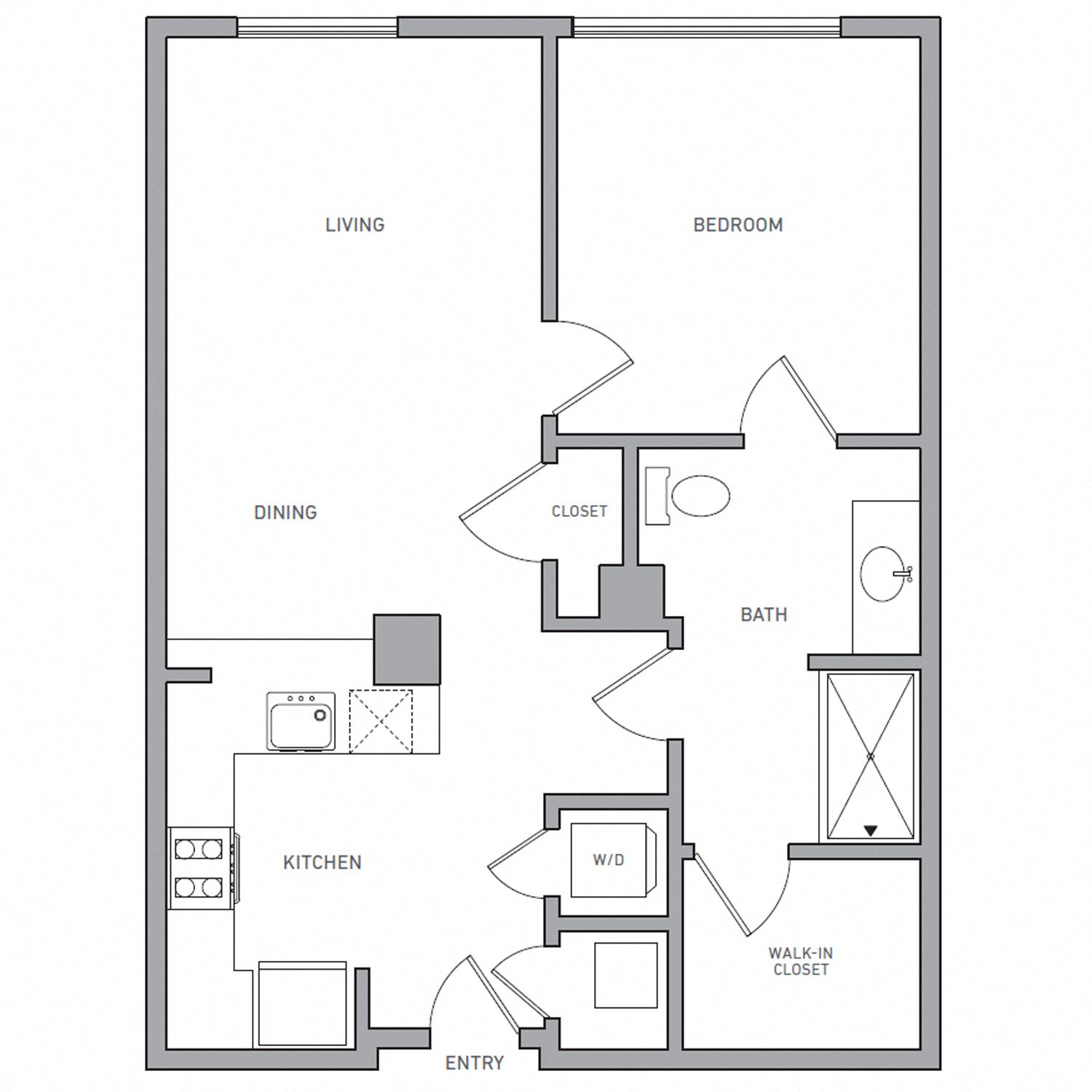 A Six D floor plan diagram. One bedroom, one bathroom, an open kitchen and living area, and a washer dryer.