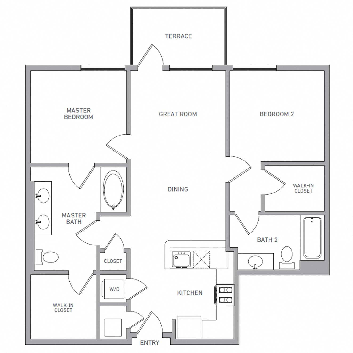 B One floor plan diagram. Two bedrooms, two bathrooms, an open kitchen and living area, a terrace, and a washer dryer.