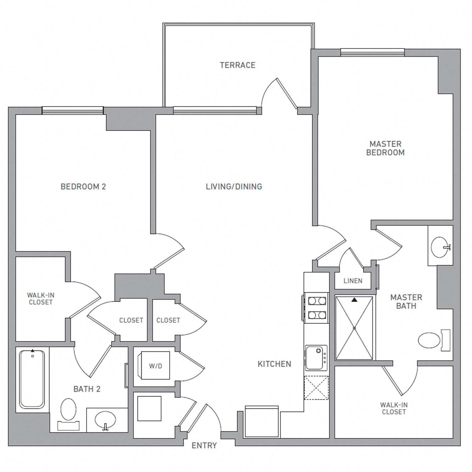 B Two floor plan diagram. Two bedrooms, two bathrooms, an open kitchen and living area, a terrace, and a washer dryer.