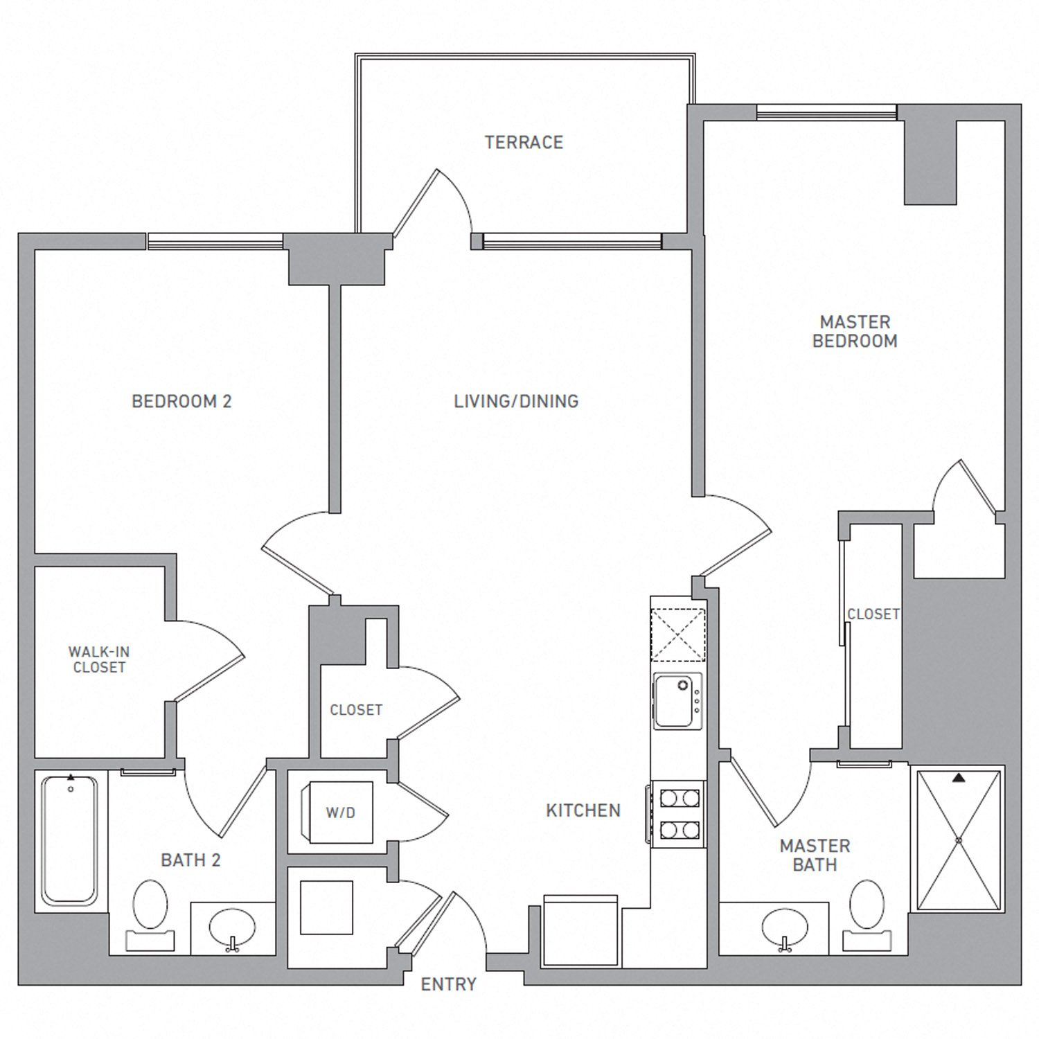 B Two A floor plan diagram. Two bedrooms, two bathrooms, an open kitchen and living area, a terrace, and a washer dryer.