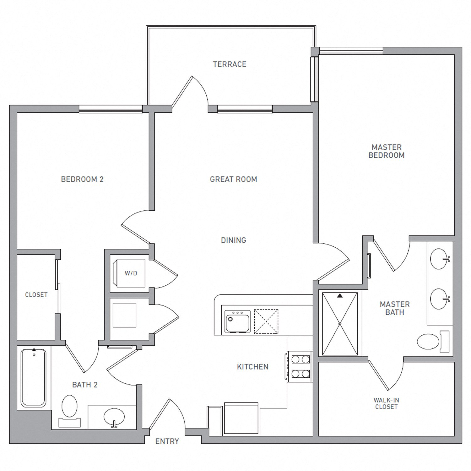 B Three floor plan diagram. Two bedrooms, two bathrooms, an open kitchen and living area, a terrace, and a washer dryer.