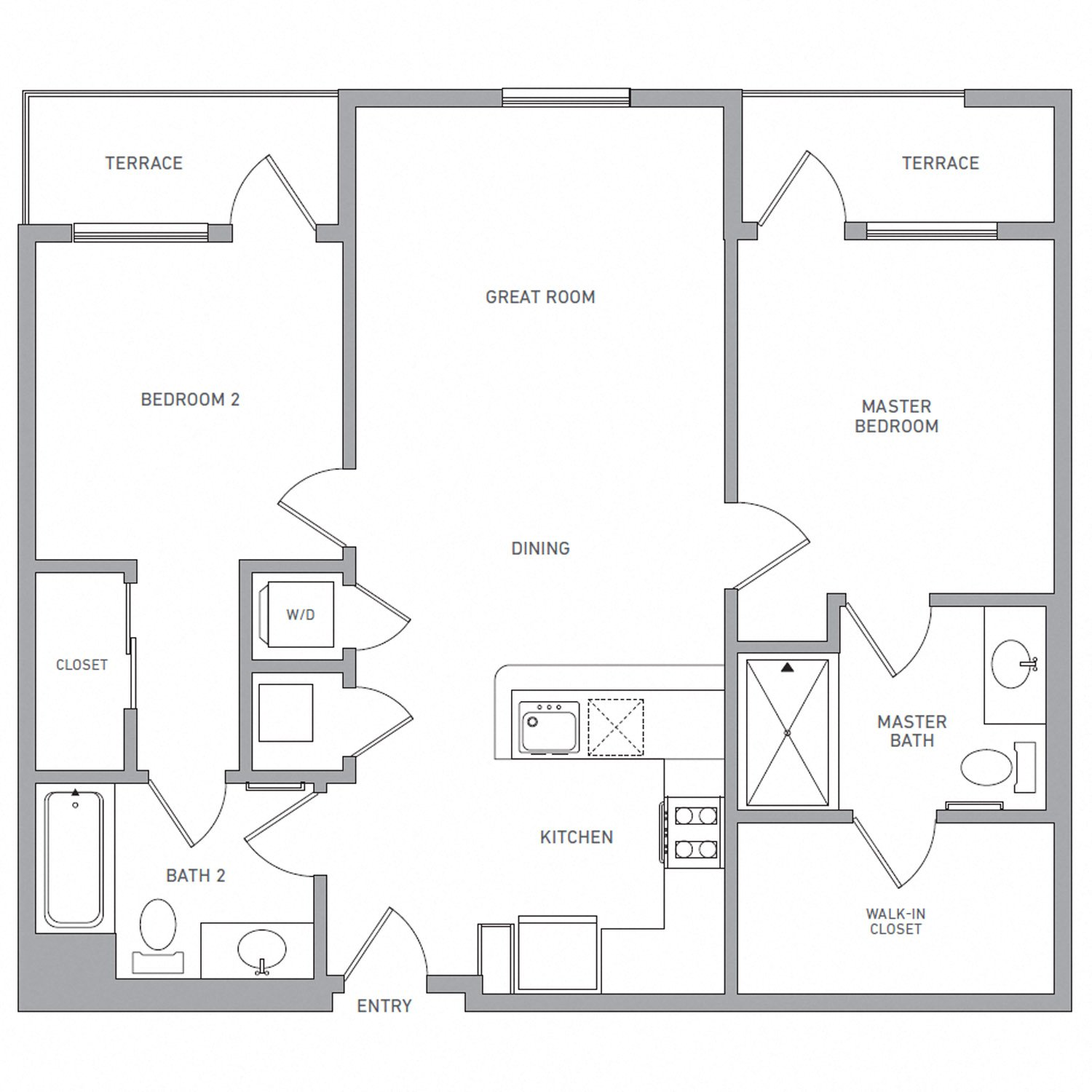 B Three A floor plan diagram. Two bedrooms, two bathrooms, an open kitchen and living area, two terraces, and a washer dryer.