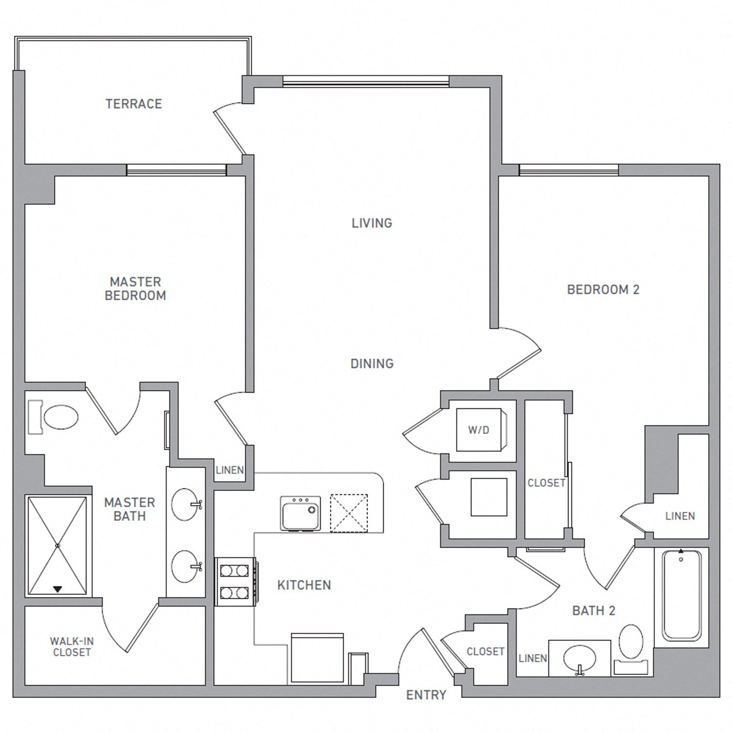 B Three B floor plan diagram. Two bedrooms, two bathrooms, an open kitchen and living area, a terrace, and a washer dryer.