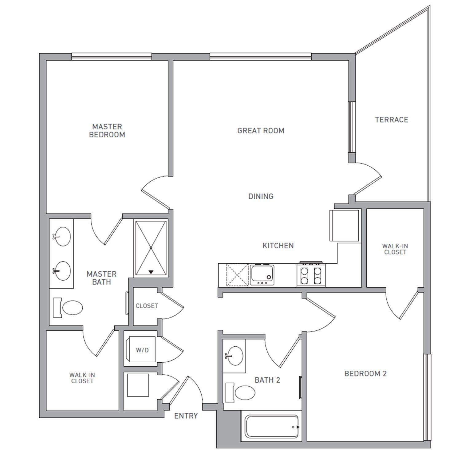 B Four floor plan diagram. Two bedrooms, two bathrooms, an open kitchen and living area, a terrace, and a washer dryer.