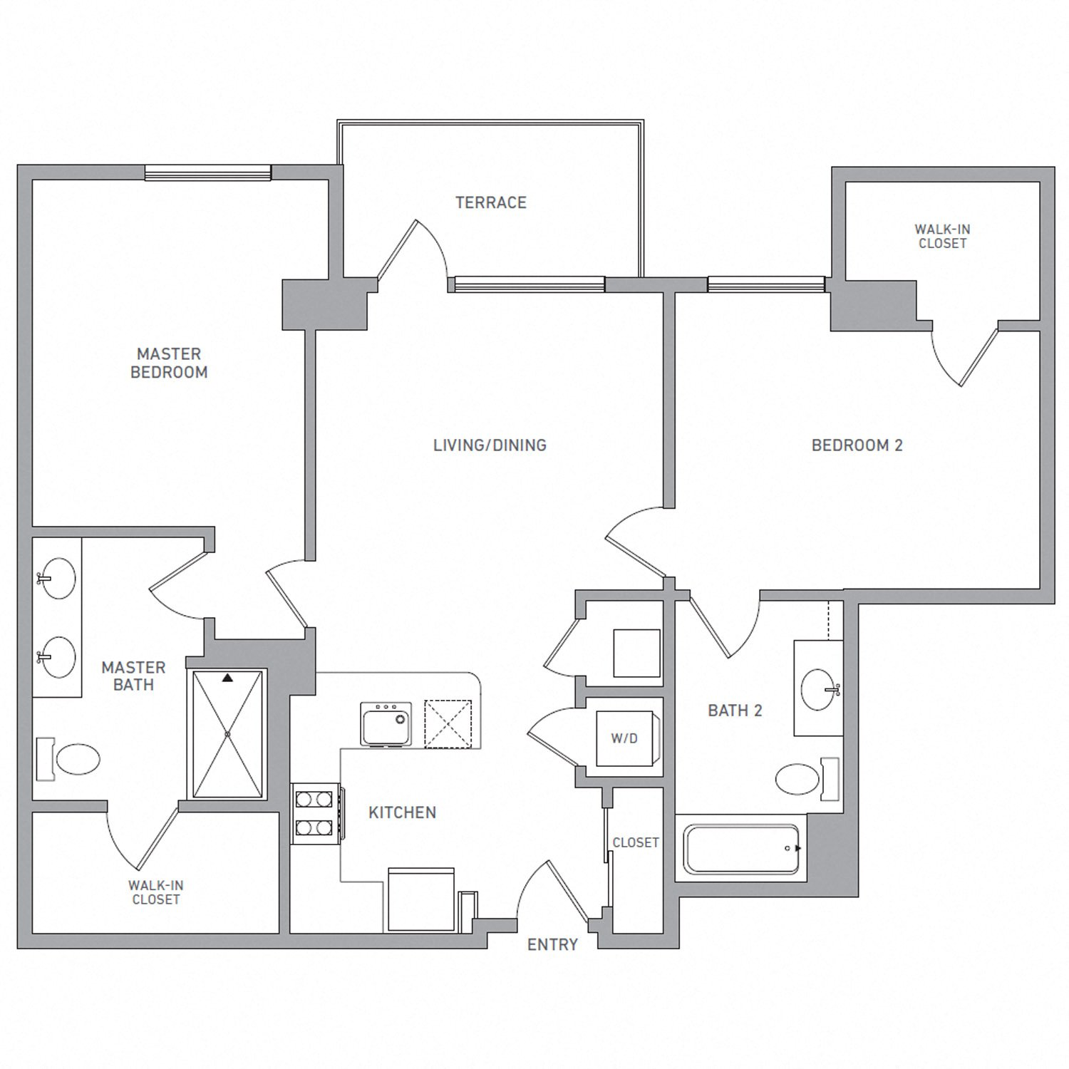 B Five floor plan diagram. Two bedrooms, two bathrooms, an open kitchen and living area, a terrace, and a washer dryer.