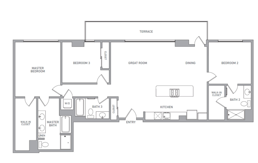 P H 212 floor plan diagram. Penthouse apartment with three bedrooms, three bathrooms, an open kitchen dining and living area, a terrace, and a washer dryer.