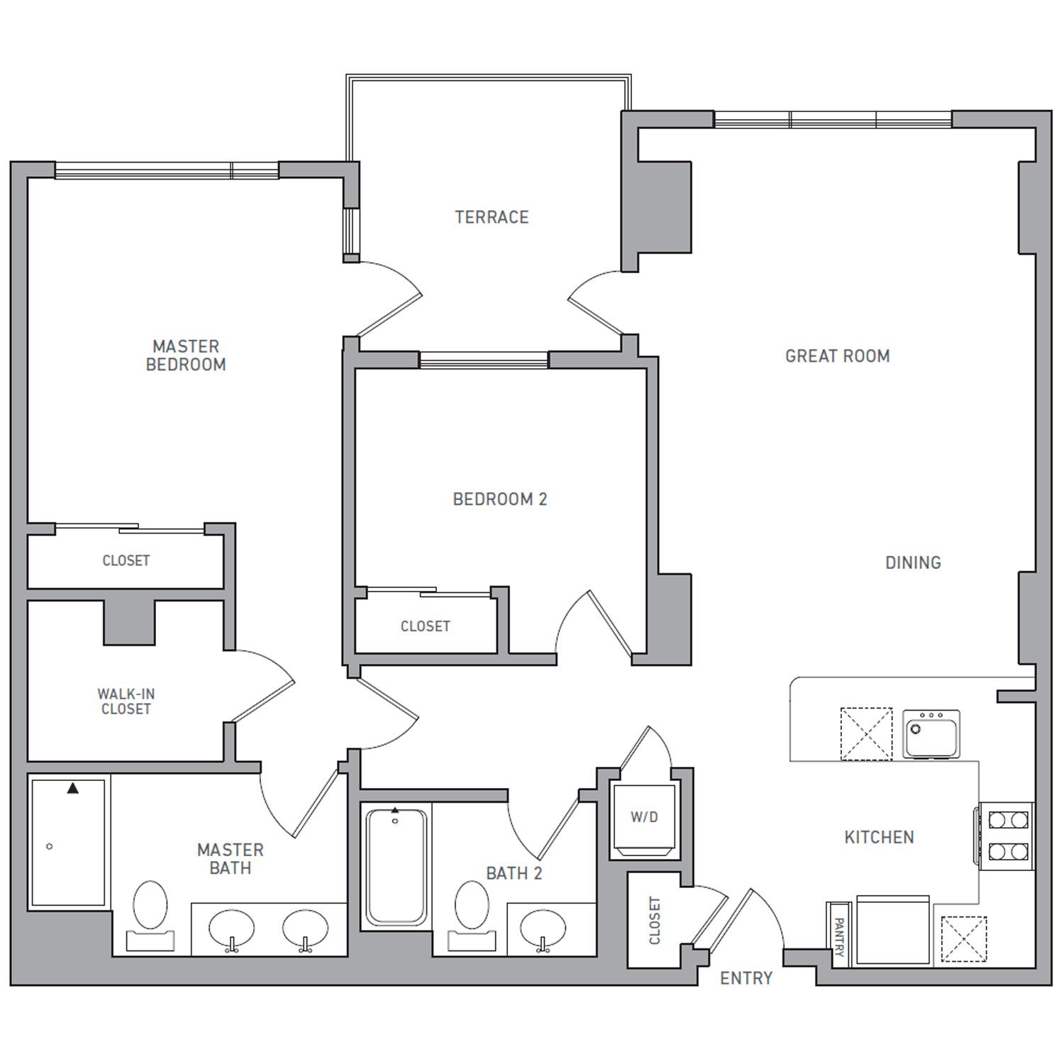 P H 202 floor plan diagram. Penthouse apartment with two bedrooms, two bathrooms, an open kitchen dining and living area, a terrace, and a washer dryer.