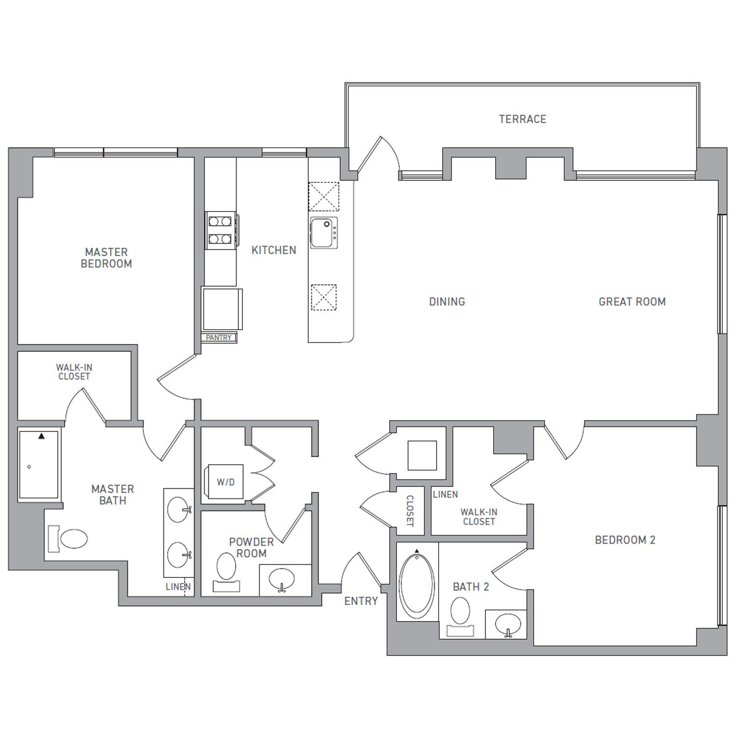 P H 200 floor plan diagram. Penthouse apartment with two bedrooms, two and a half bathrooms, an open kitchen dining and living area, a terrace, and a washer dryer.