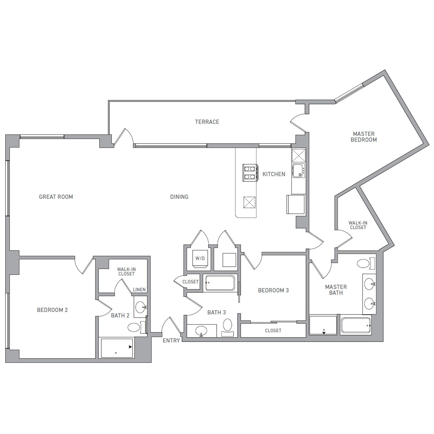 P H 200 floor plan diagram. Penthouse apartment with three bedrooms, three bathrooms, an open kitchen dining and living area, a terrace, and a washer dryer.