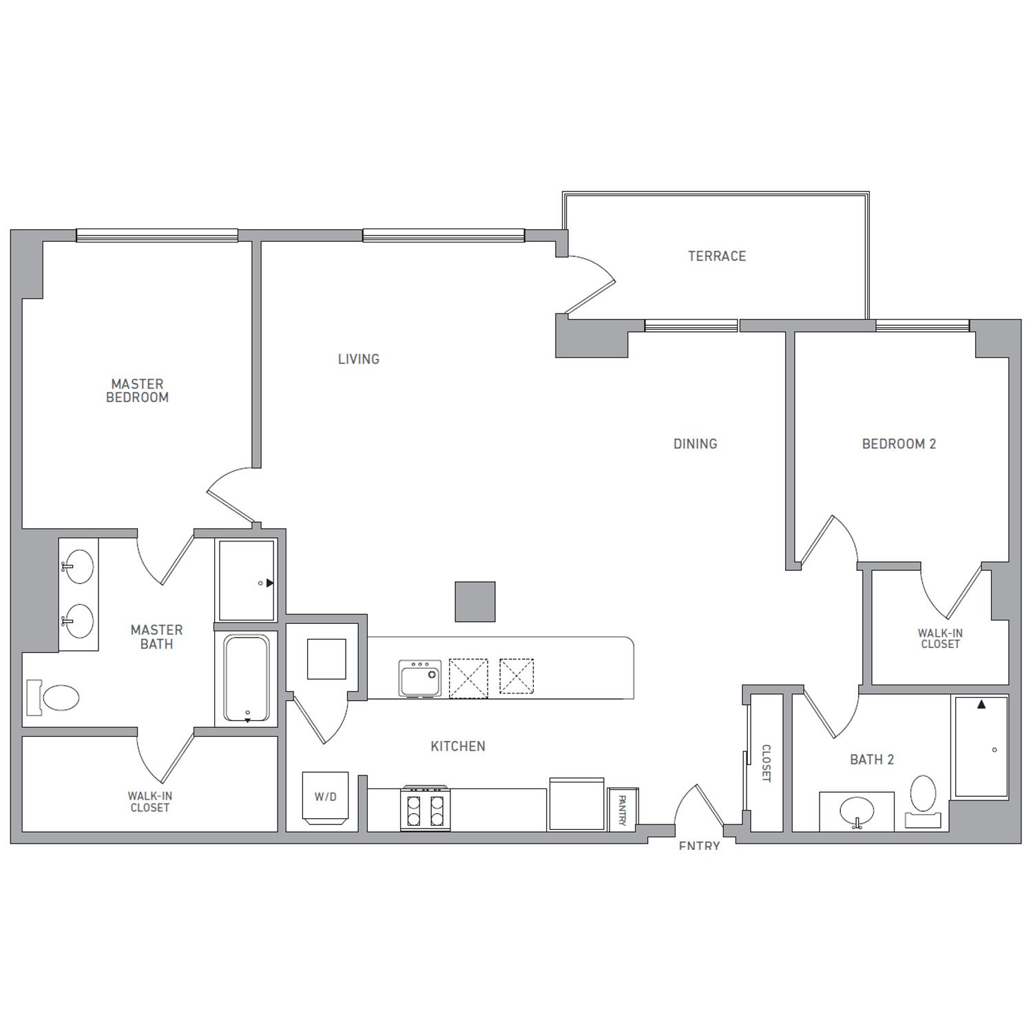 P H 203 floor plan diagram. Penthouse apartment with two bedrooms, two bathrooms, an open kitchen dining and living area, a terrace, and a washer dryer.