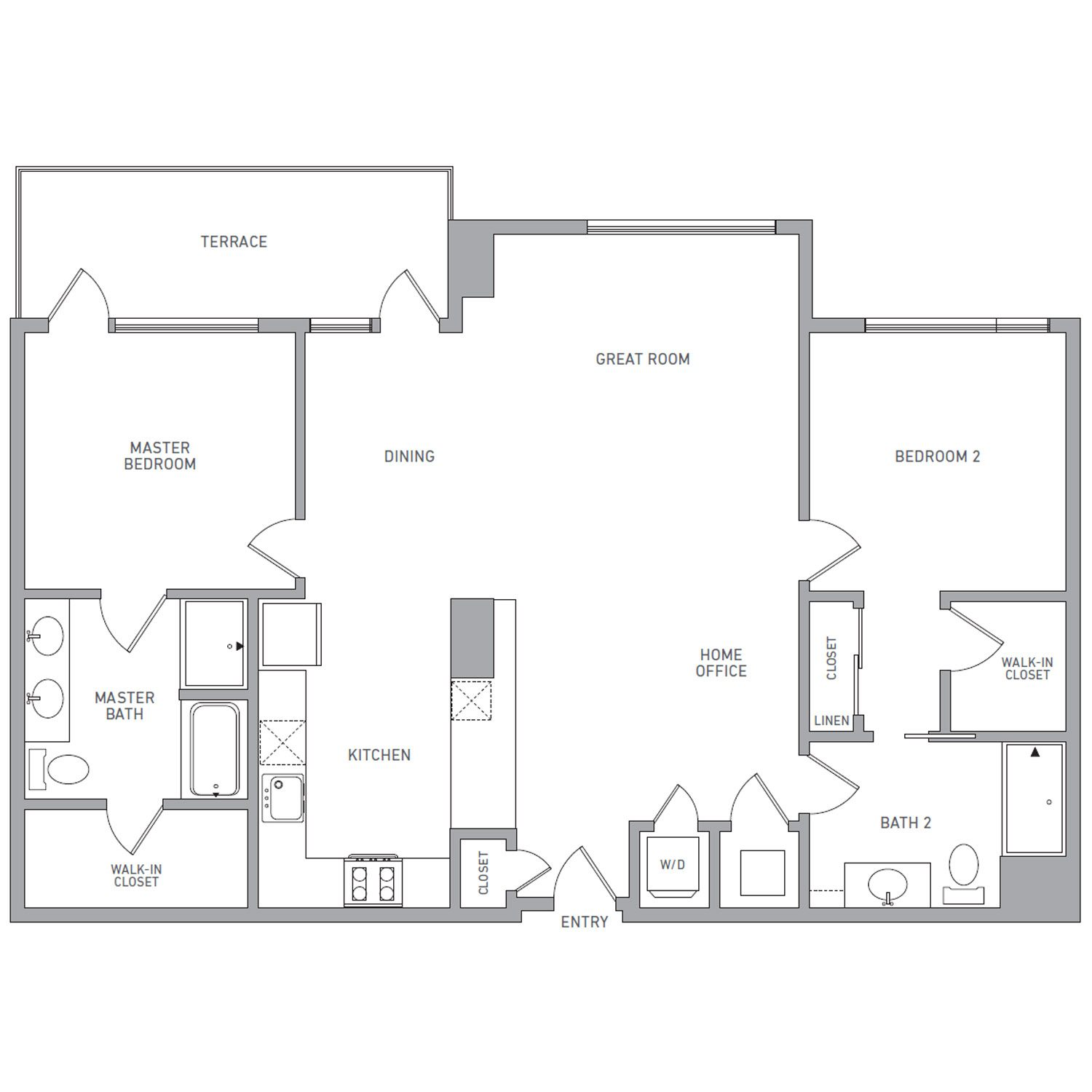 P H 205 floor plan diagram. Penthouse apartment with two bedrooms, three bathrooms, an open kitchen dining and living area, a terrace, and a washer dryer.