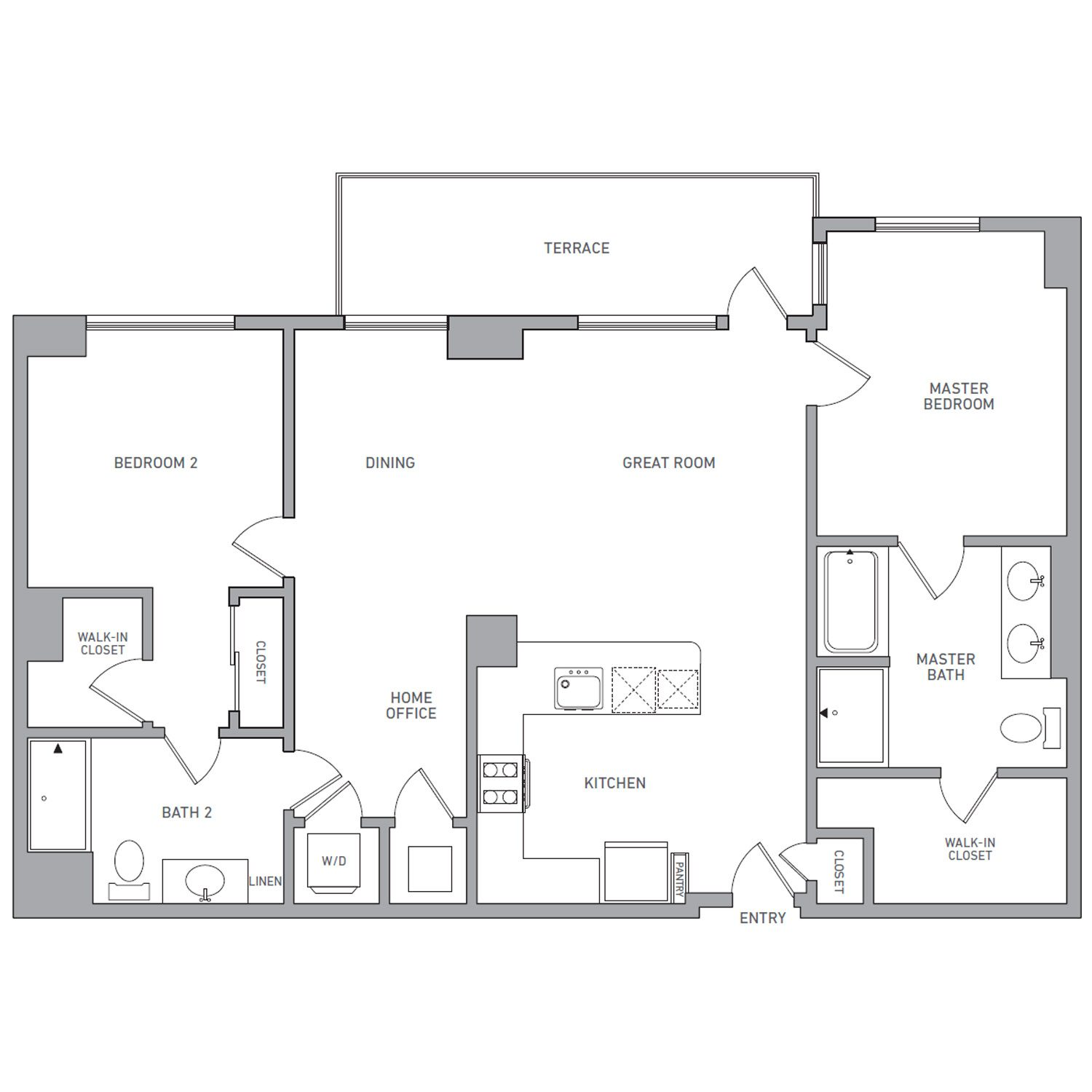 P H 207 floor plan diagram. Penthouse apartment with two bedrooms, two and a half bathrooms, an open kitchen dining and living area, a terrace, and a washer dryer.