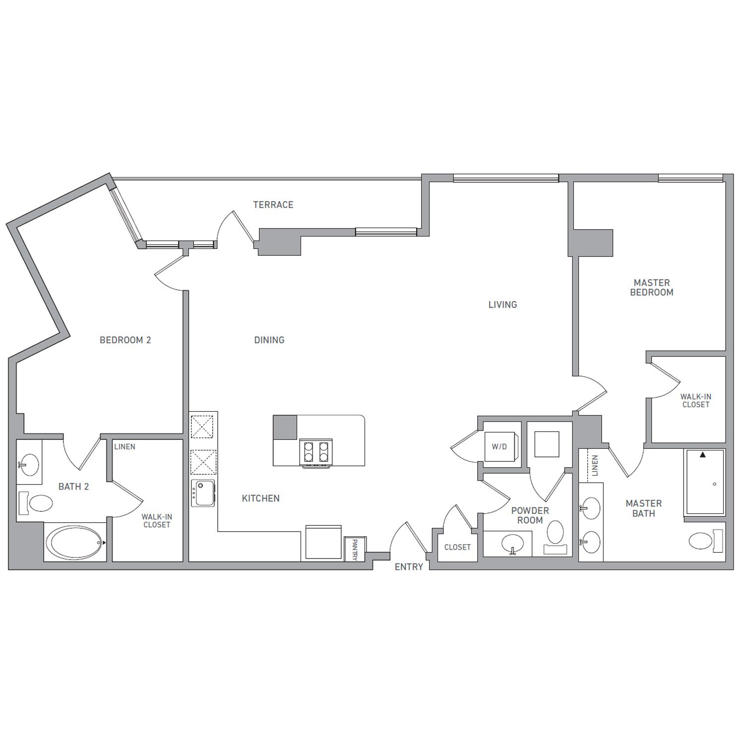 P H 217 floor plan diagram. Penthouse apartment with two bedrooms, two bathrooms, a powder room, an open kitchen dining and living area, a terrace, and a washer dryer.