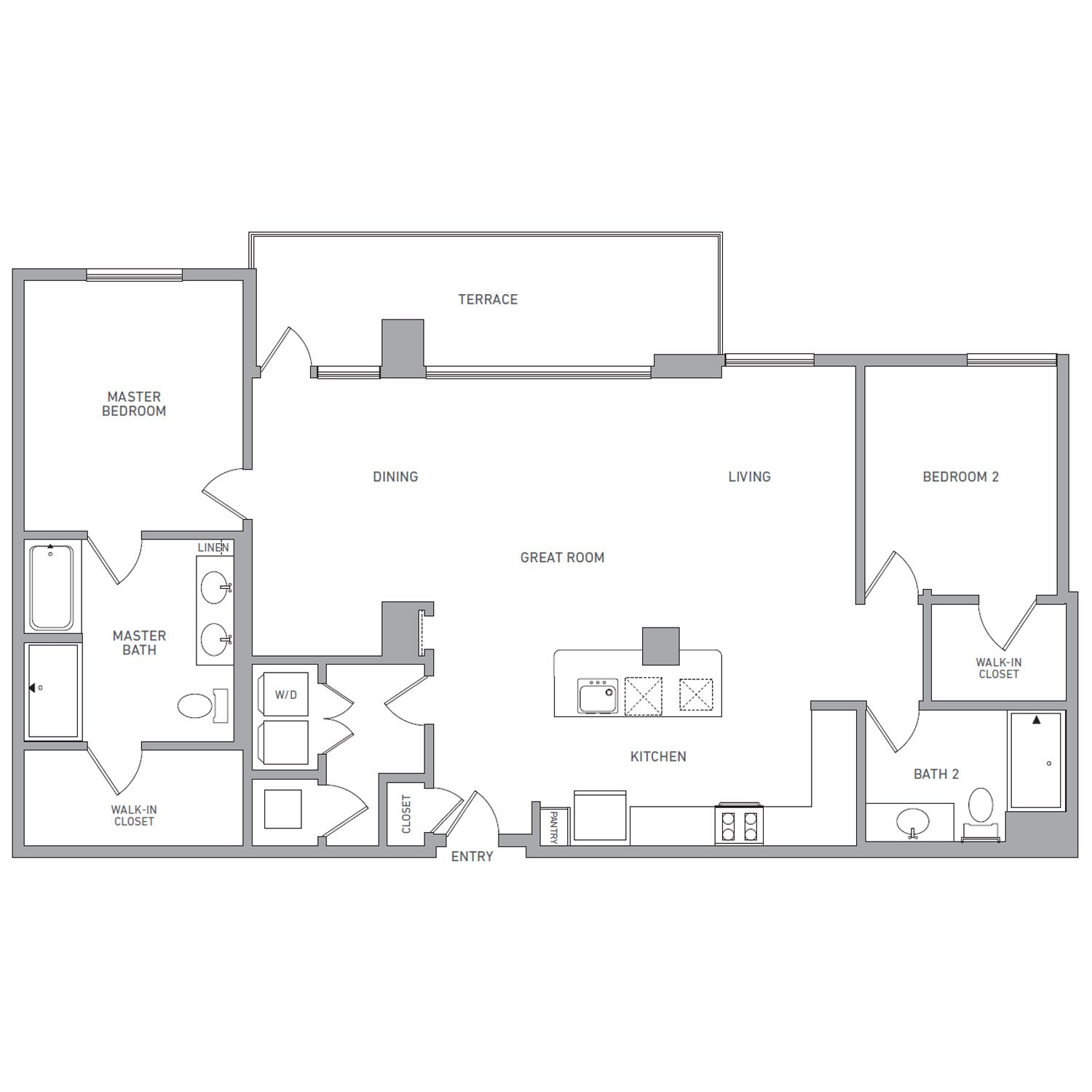 P H 219 floor plan diagram. Penthouse apartment with two bedrooms, two bathrooms, an open kitchen dining and living area, a terrace, and a washer dryer.