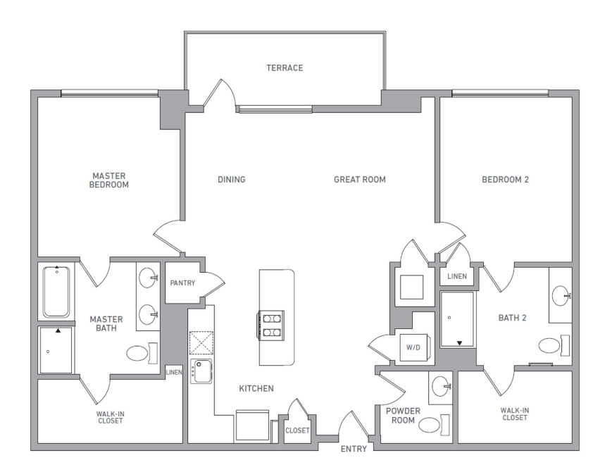 P H 218 floor plan diagram. Penthouse apartment with two bedrooms, two bathrooms, an open kitchen dining and living area, a terrace, and a washer dryer.