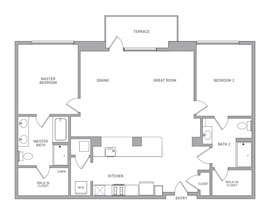 P H 216 floor plan diagram. Penthouse apartment with two bedrooms, two bathrooms, an open kitchen dining and living area, a terrace, and a washer dryer.