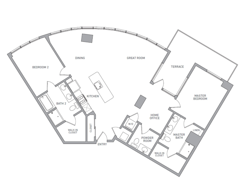 P H 214 floor plan diagram. Penthouse apartment with two bedrooms, two bathrooms, a powder room, an open kitchen dining and living area, a terrace, and a washer dryer.