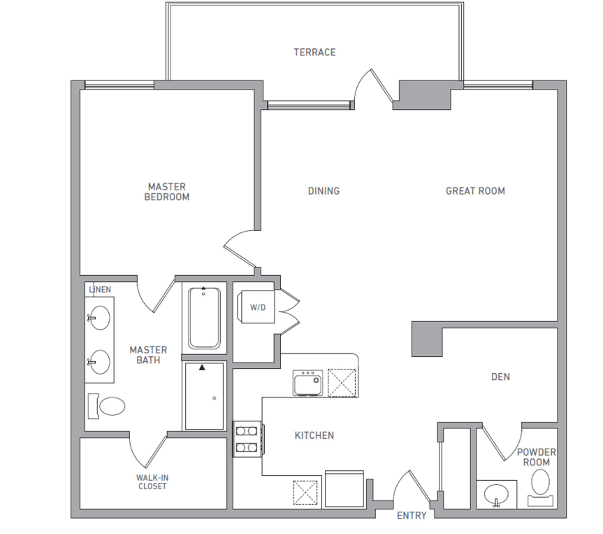 P H 212 floor plan diagram. Penthouse apartment with one bedroom, one and a half bathrooms, an open kitchen dining and living area, a terrace, and a washer dryer.