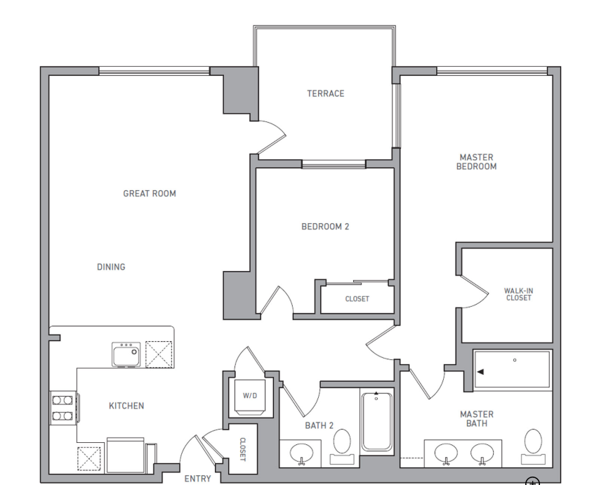 P H 208 floor plan diagram. Penthouse apartment with two bedrooms, two bathrooms, an open kitchen and living area, a terrace, and a washer dryer.