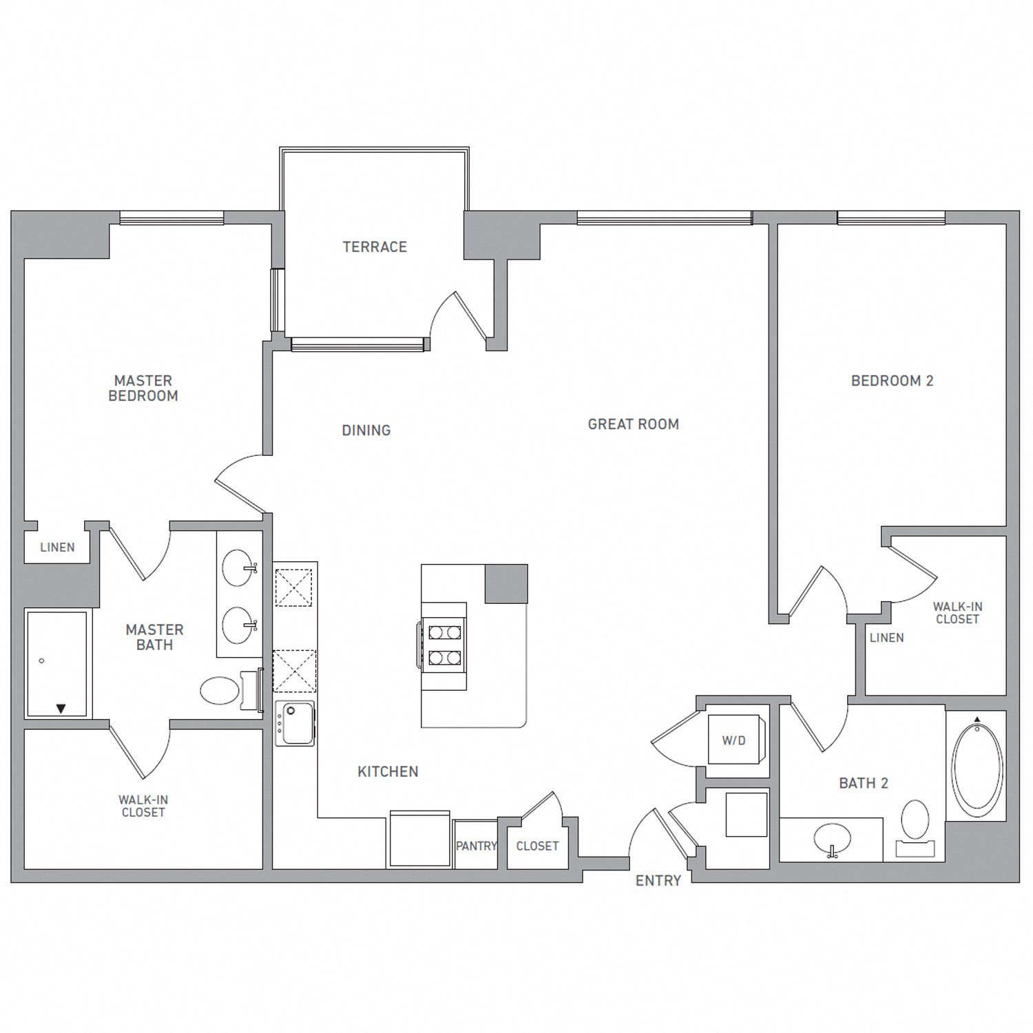 P H 206 floor plan diagram. Penthouse apartment with two bedrooms, two bathrooms, an open kitchen dining and living area, a terrace, and a washer dryer.