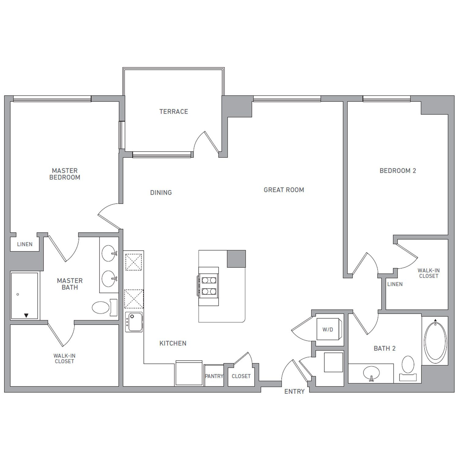 P H 204 floor plan diagram. Penthouse apartment with two bedrooms, two bathrooms, an open kitchen dining and living area, a terrace, and a washer dryer.