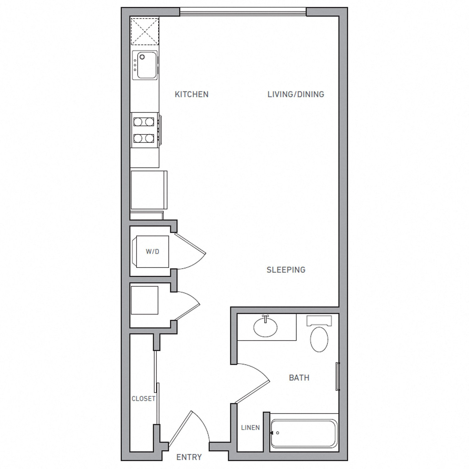 S One floor plan diagram. A studio apartment with one bathroom, an open kitchen and living area, and a washer dryer.