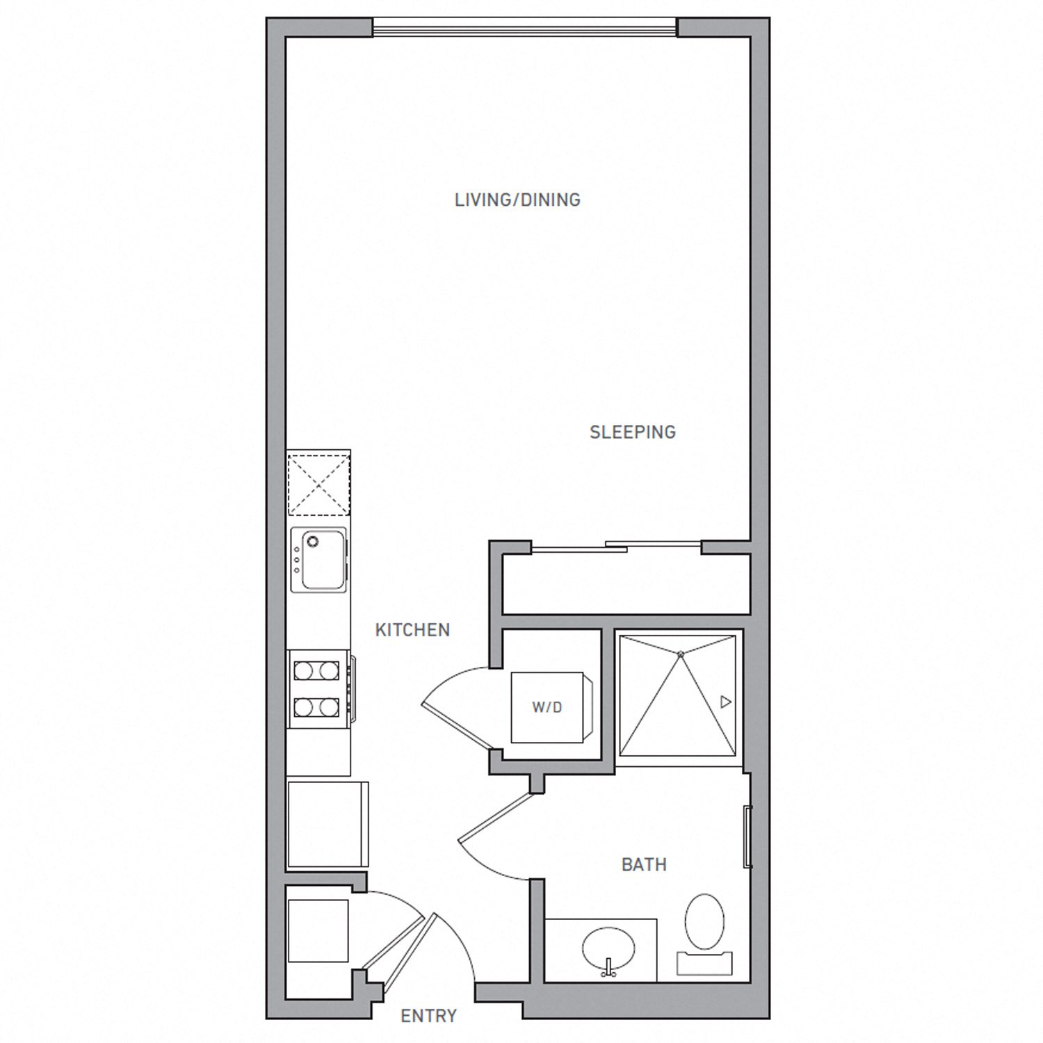 S Two floor plan diagram. A studio apartment with one bathroom, an open kitchen and living area, and a washer dryer.
