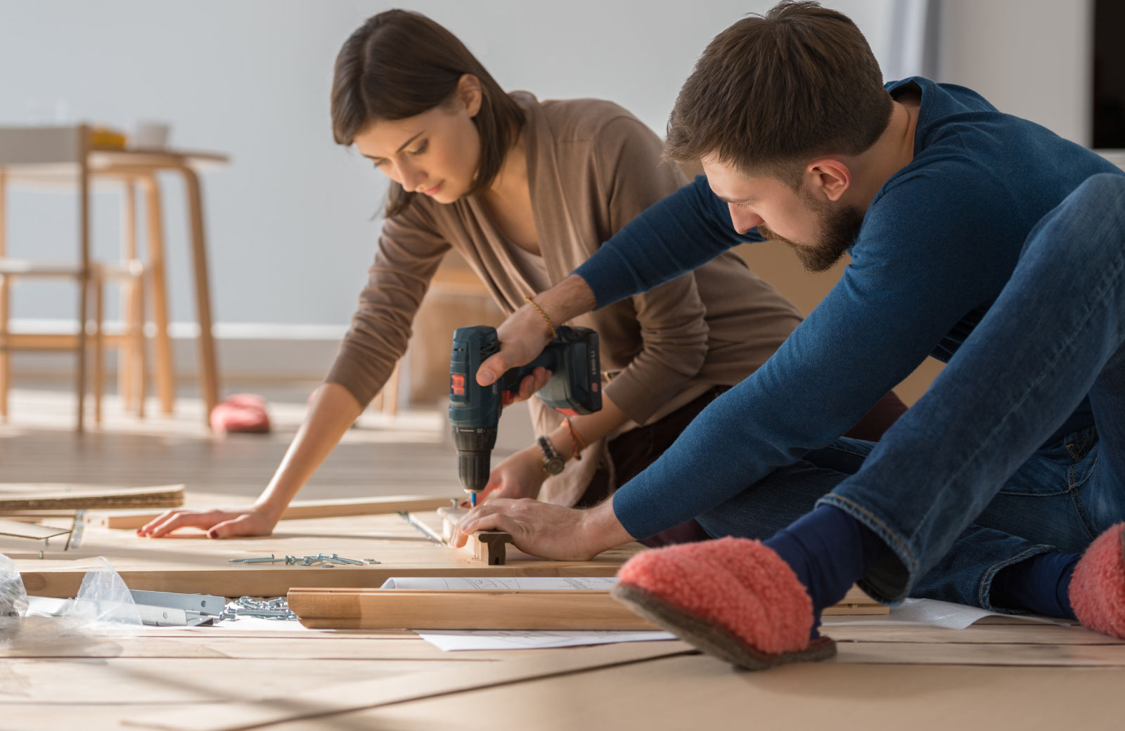 couple creating diy home projects
