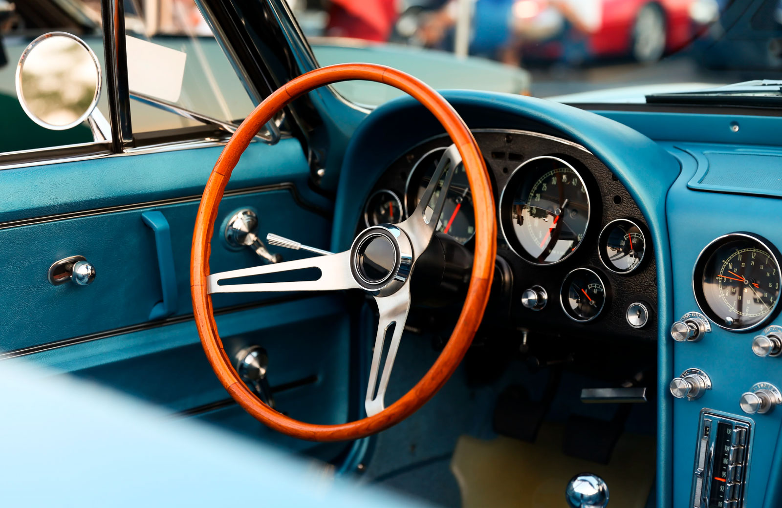 steering wheel of vintage car