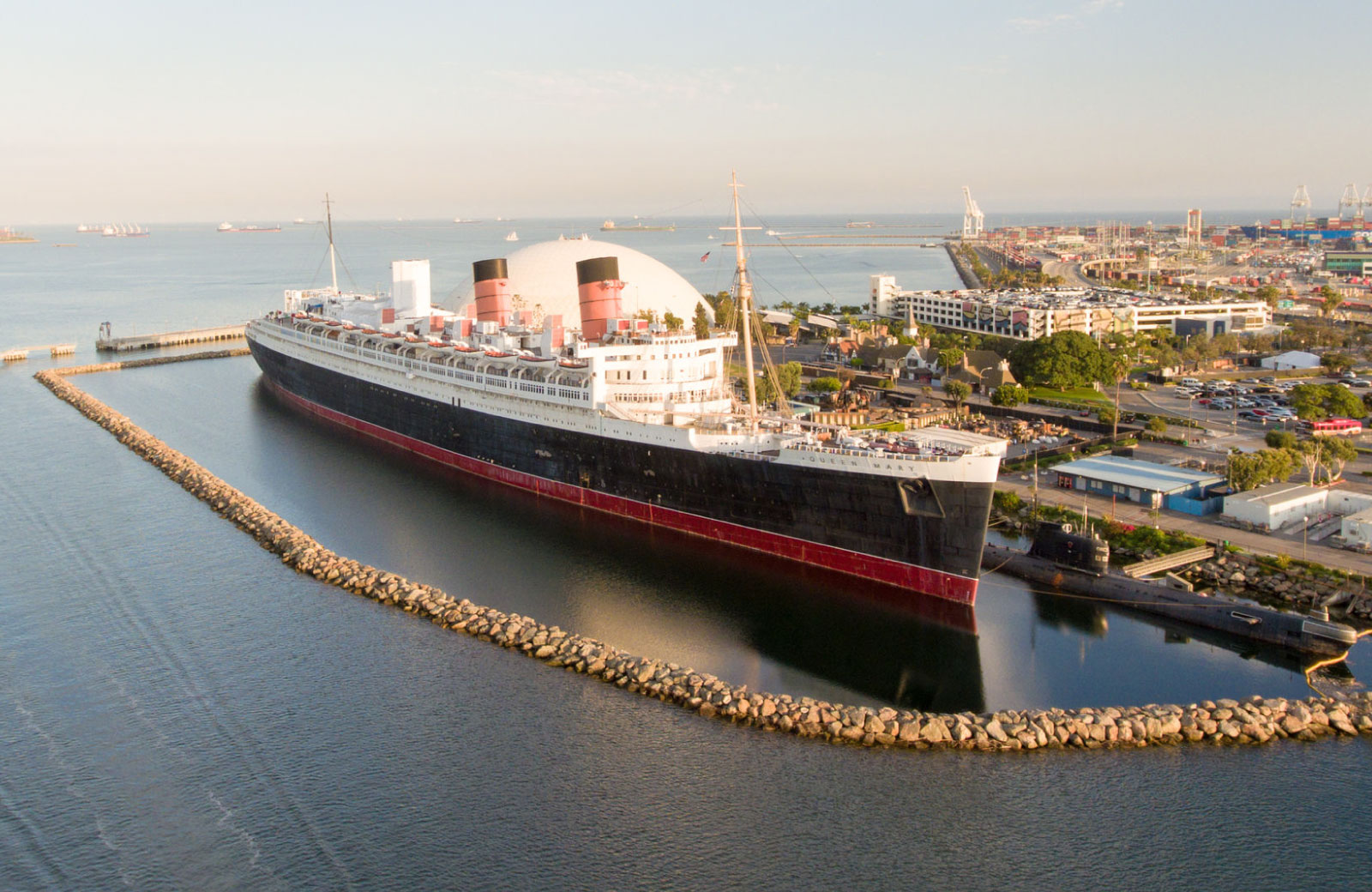 skyview of queen mary ship