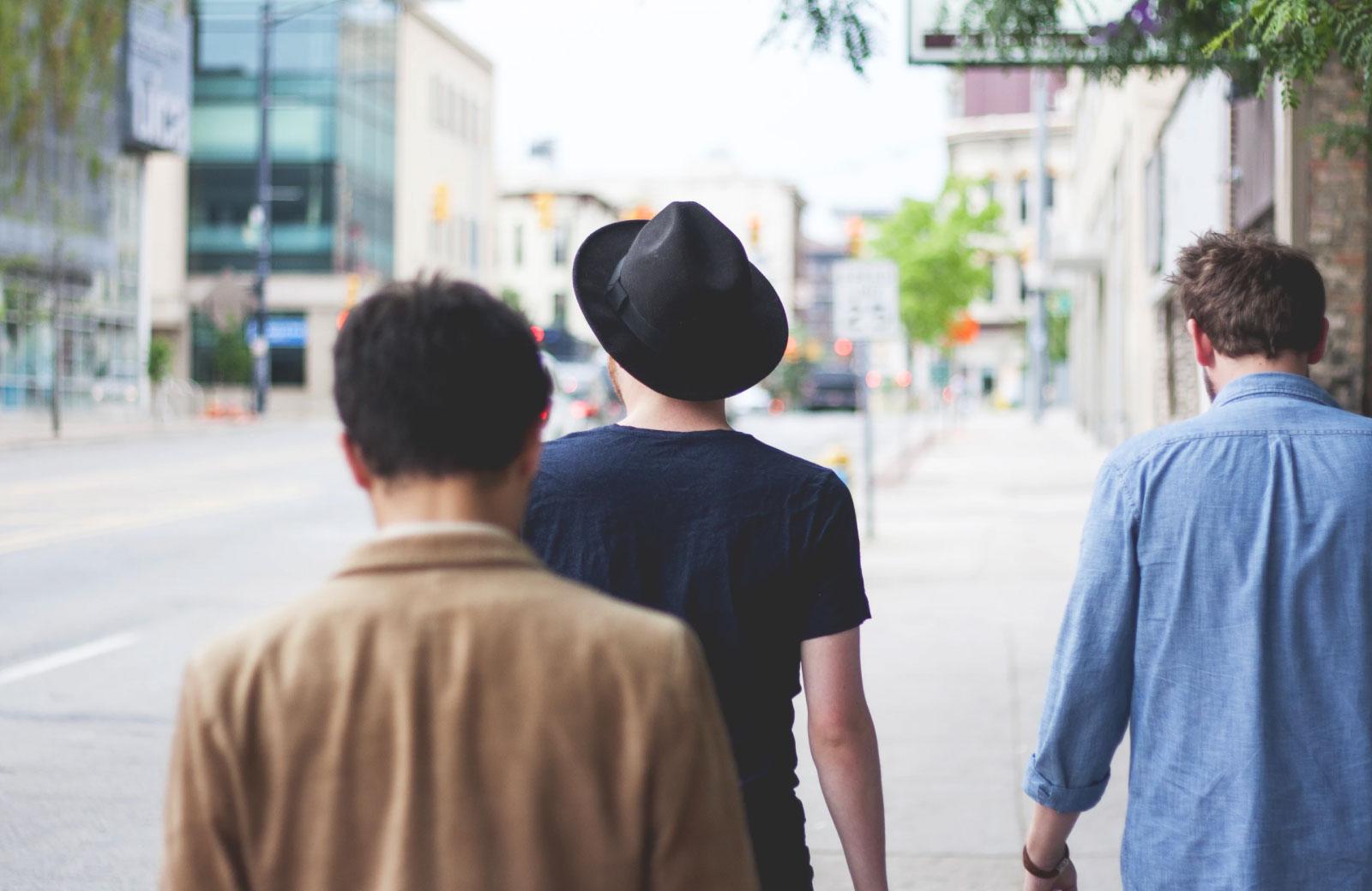 men walking along the streets of san pedro