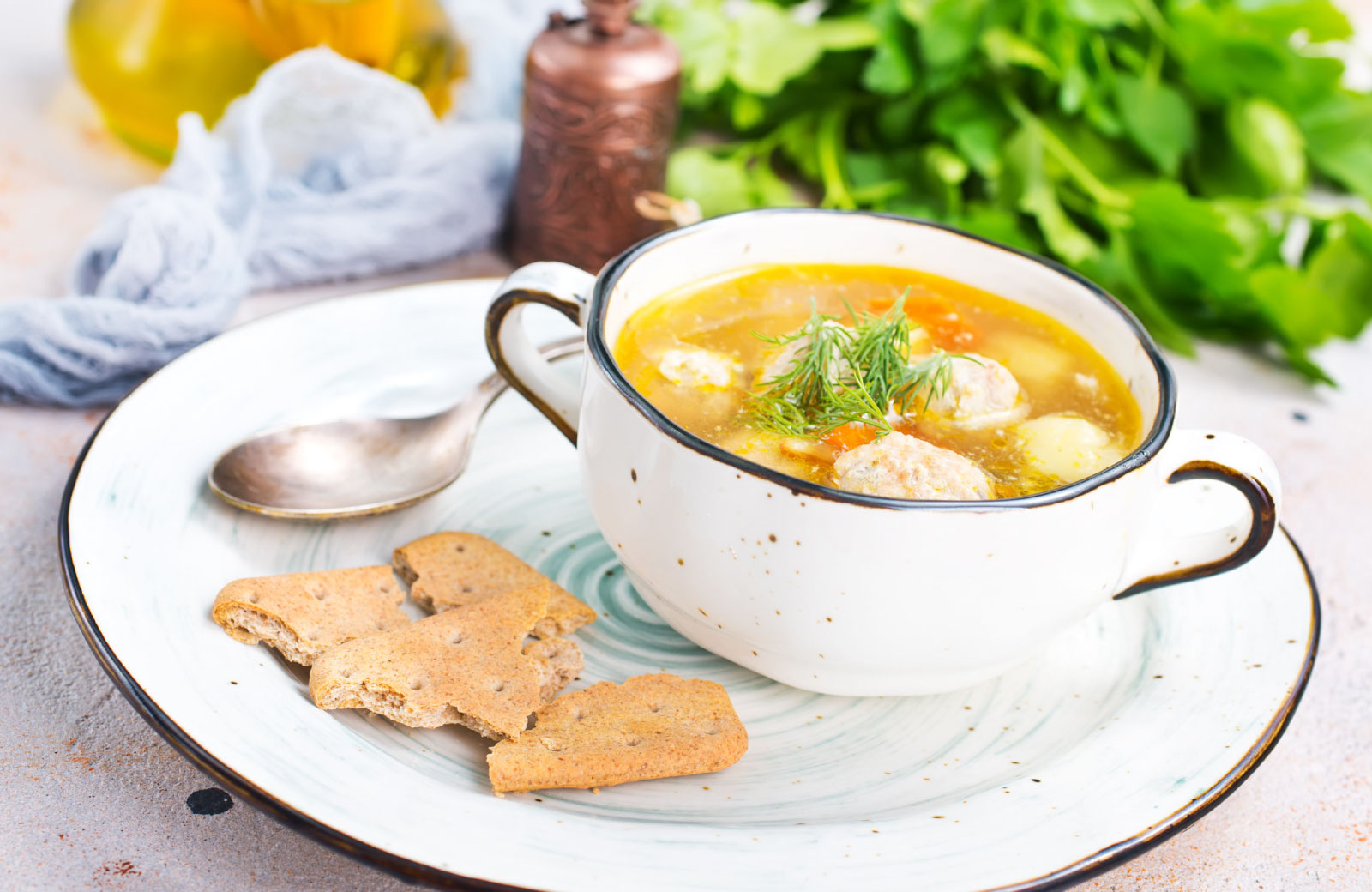 soup with biscuits
