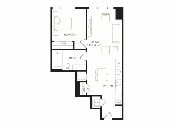 Chabot floor plan diagram. One bedroom, one bathroom, a kitchen and living  area, and a washer dryer.