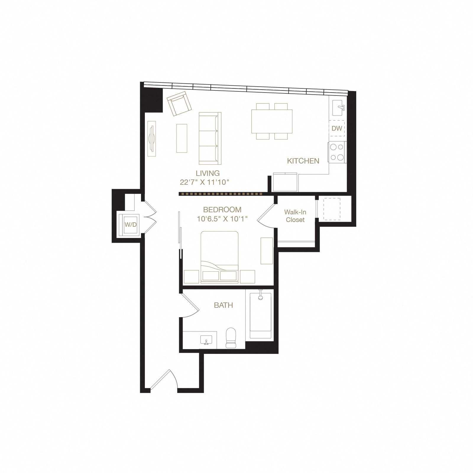 Joaquin Miller floor plan diagram. One bedroom, one bathroom, a kitchen and living  area, and a washer dryer.