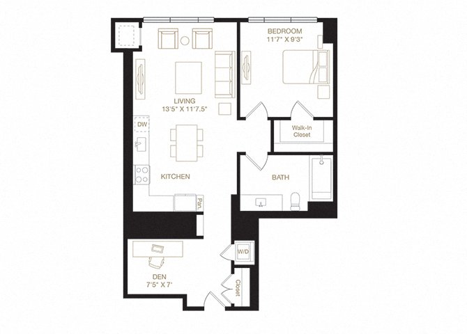Redwood diagram floor plan diagram. One bedroom, one bathroom, a kitchen and living  area, a den, and a washer dryer.