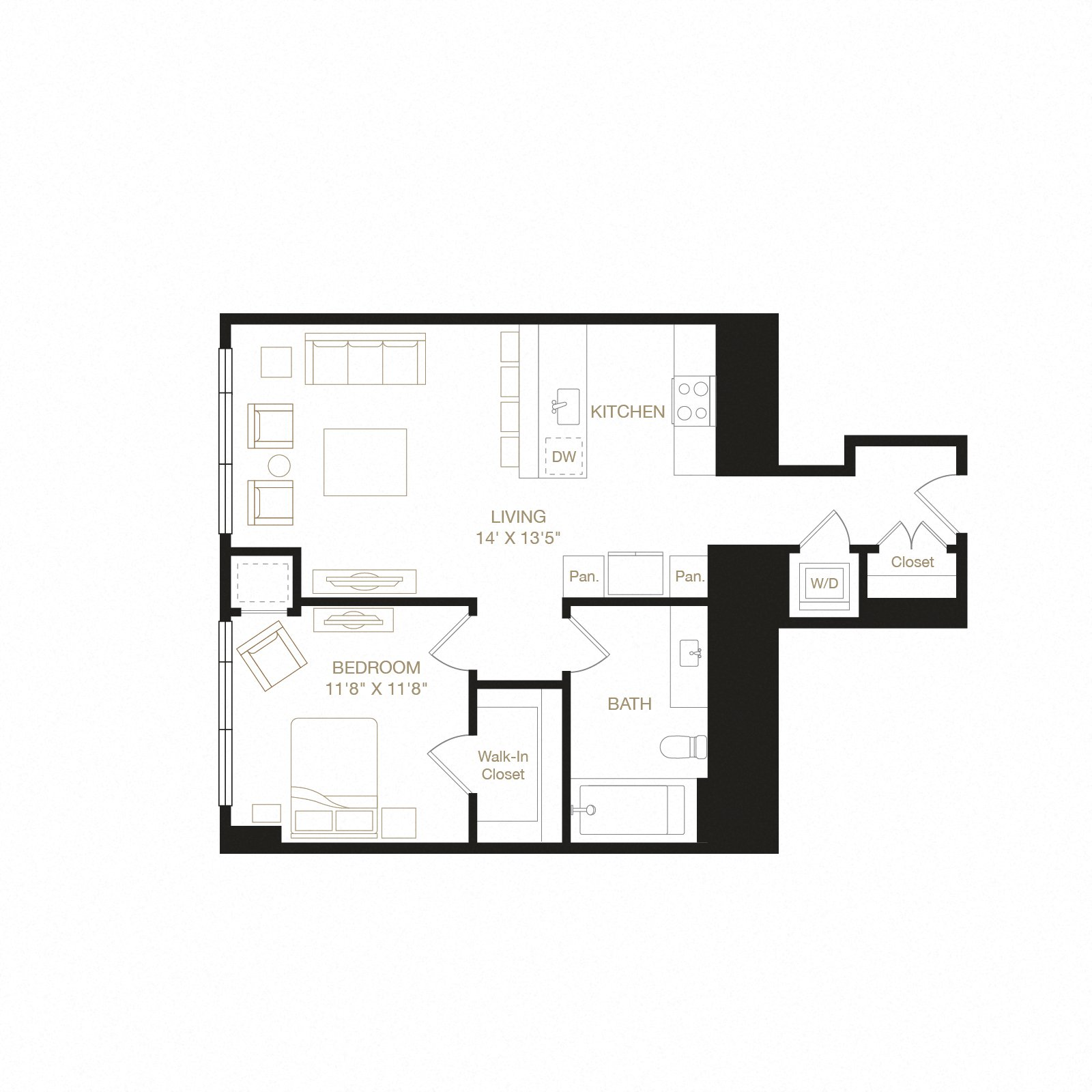 Channel floor plan diagram. One bedroom, one bathroom, a kitchen and living  area, and a washer dryer.