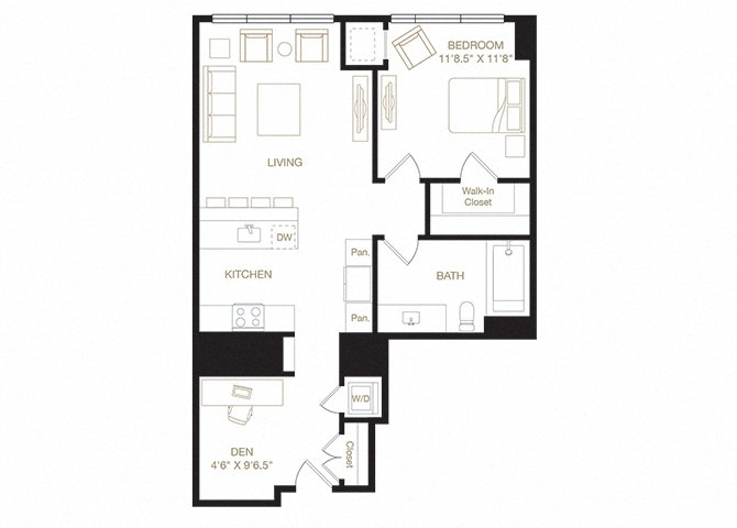 Snow Park floor plan diagram. One bedroom, one bathroom, a kitchen and living  area, a den, and a washer dryer.