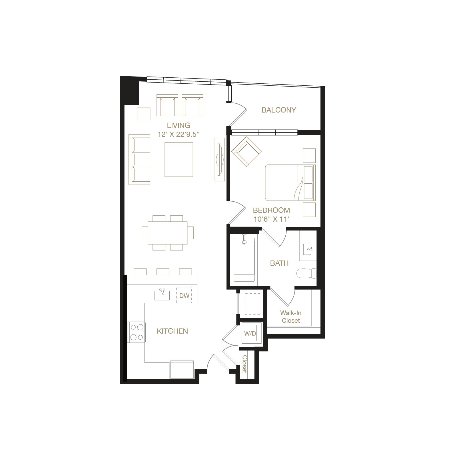 Eastshore floor plan diagram. One bedroom, one bathroom, a kitchen and living  area, a terrace, and  washer dryer.