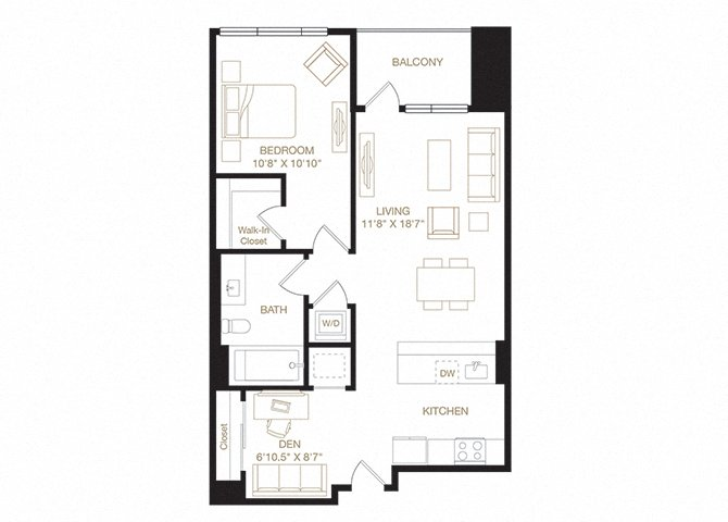 Lake Merritt floor plan diagram. One bedroom, one bathroom, a den, a kitchen and living  area, a balcony, and a washer dryer.