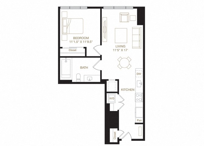 Glen Echo floor plan diagram. One bedroom, one bathroom, a kitchen and living  area, and a washer dryer.