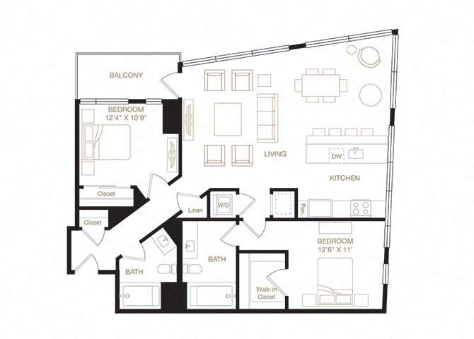 Lincoln floor plan diagram. Two bedrooms, two bathrooms, a kitchen and living  area, a balcony, and a washer dryer.