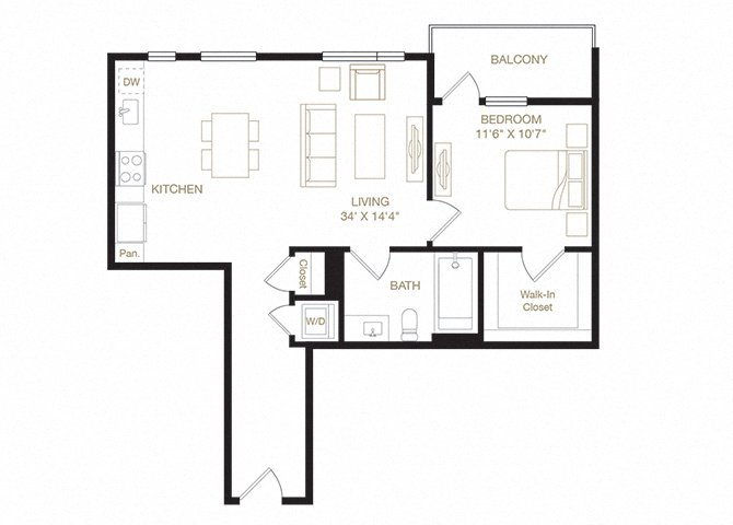Grand Lake floor plan diagram. One bedroom, one bathroom, a kitchen and living  area, a balcony, and a washer dryer.