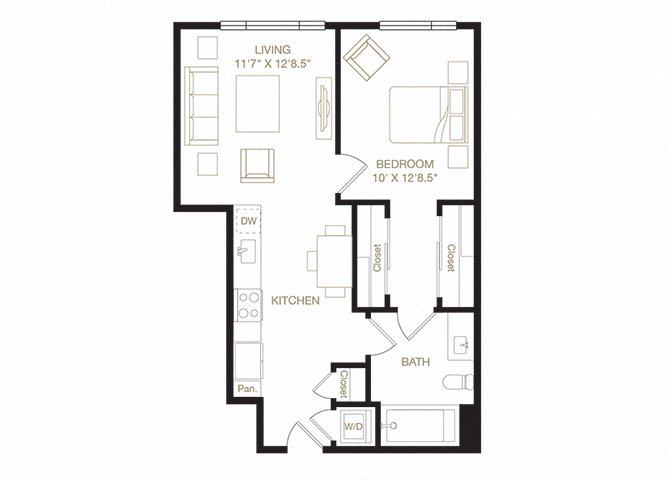 Uptown floor plan diagram. One bedroom, one bathroom, a kitchen and living  area, and a washer dryer.
